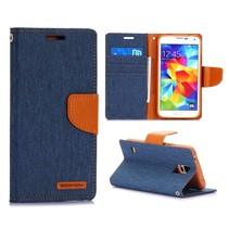 Canvas blauw Bookcase hoes Galaxy S5 / Plus / Neo