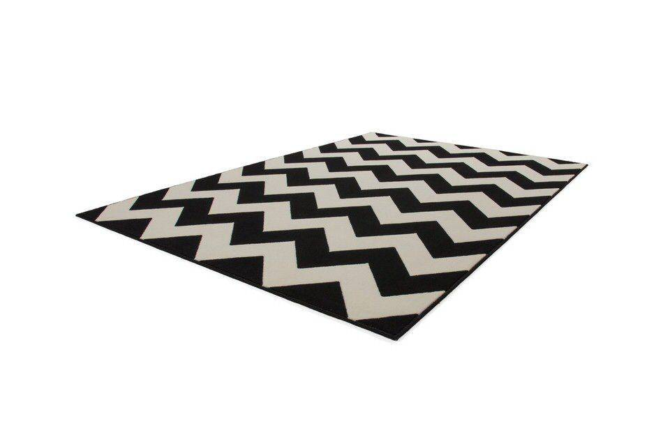 woonkamer Kayoom Manolya Vloerkleed 80x150 Wit Zwart