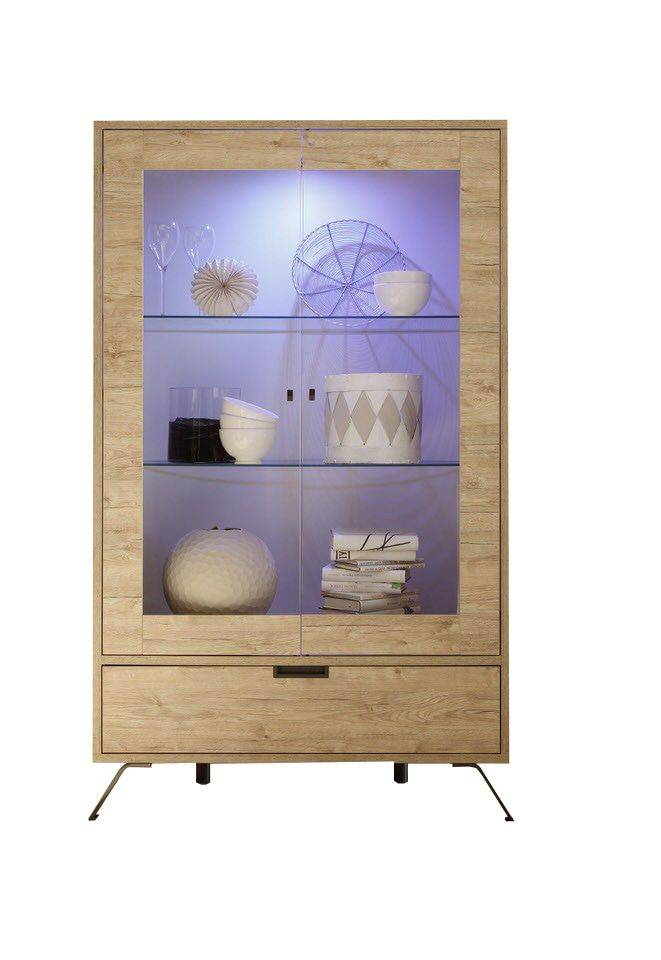 woonkamer Benvenuto Design Palma Vitrinekast Large Eiken+LED verlichting