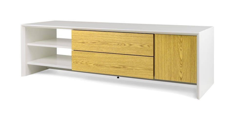 woonkamer Tenzo Profil TV meubel 150 cm. Wit Eiken