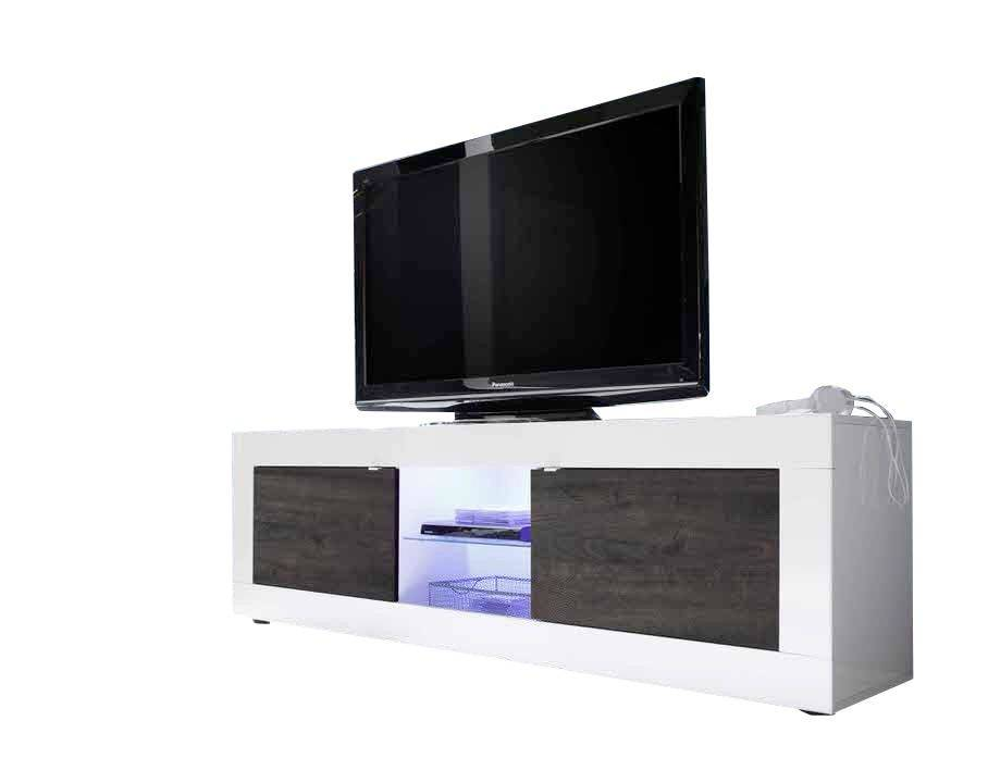 woonkamer Benvenuto Design Modena TV meubel Big HG Wit Wenge+LED