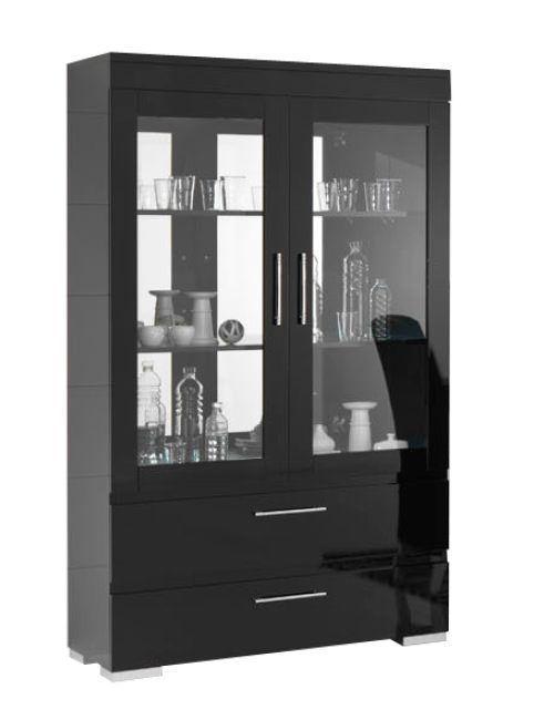 woonkamer Davidi Design Gilda Grande Vitrinekast HG Zwart+Verlichting