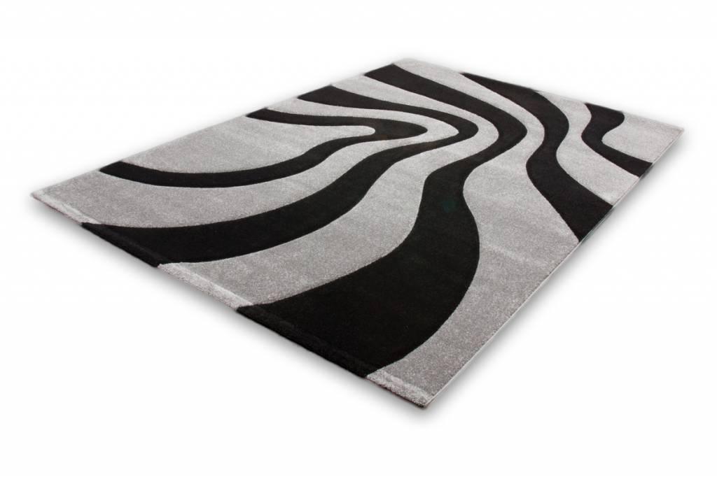 woonkamer Lalee Lambada Vloerkleed 80x300 Zwart Zilver 452