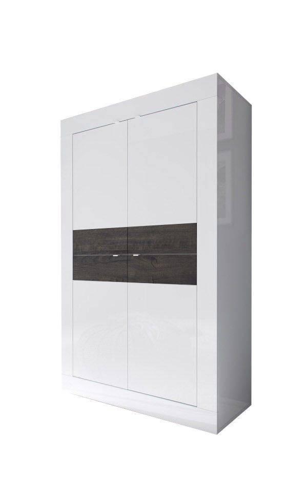 woonkamer Benvenuto Design Modena Vitrinekast Big HG Wit Wenge+Verlichting