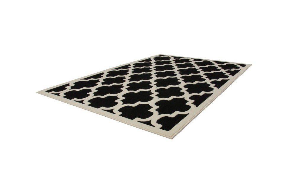 woonkamer Kayoom Manolya Vloerkleed 80x250 Zwart Wit