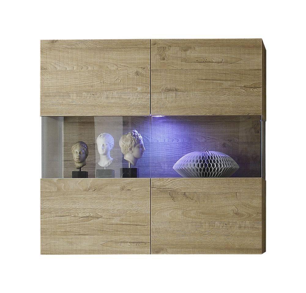 woonkamer Benvenuto Design Line Vitrinekast Eiken+LED verlichting