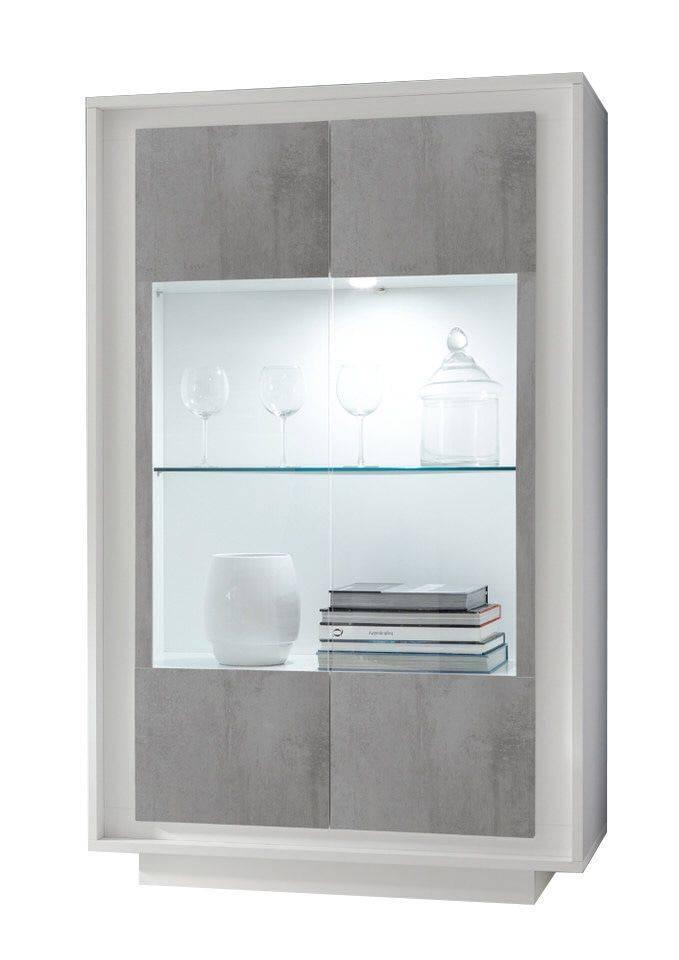 woonkamer Benvenuto Design Sky Vitrinekast Cement Wit + RGB LED