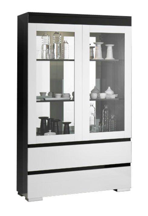 woonkamer Davidi Design Zenos Grande Vitrinekast HG Zwart Wit+verlichting