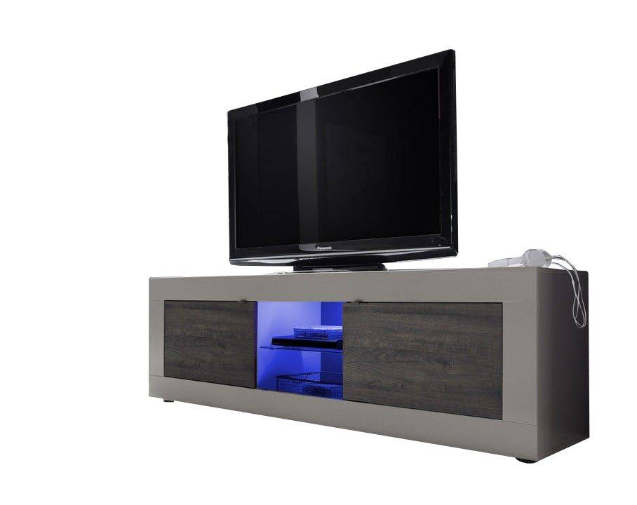 woonkamer Benvenuto Design Modena TV meubel Big Matt Beige Wenge+LED