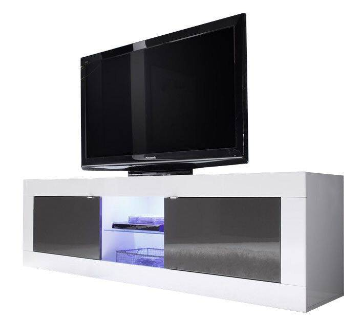 woonkamer Benvenuto Design Modena TV meubel Big HG Wit Antraciet+LED