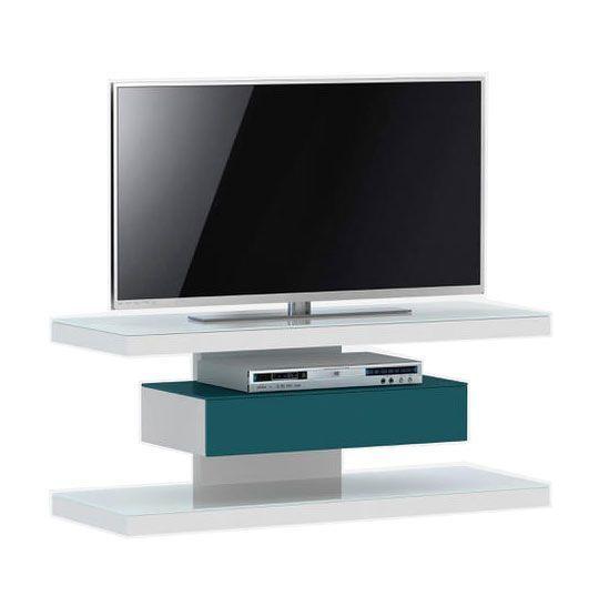 woonkamer Jahnke Moebel SL 610 TV meubel Wit Petrol Groen