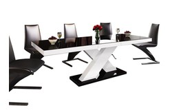 Xenon Uitschuifbaar Eettafel HG Zwart/Wit