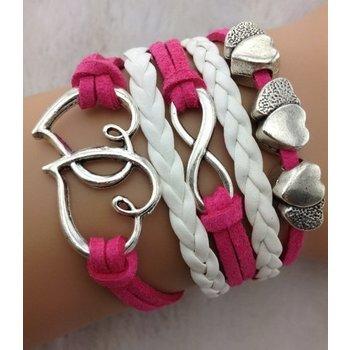 Armband Armcandy fuchsia-roze-wit Infinity-Hearts 17