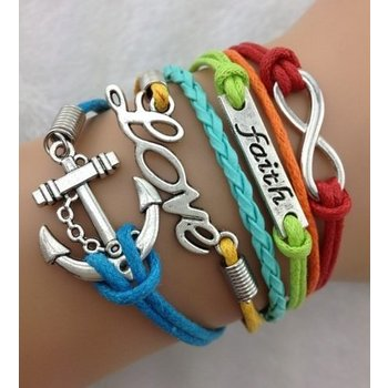 Armband Armcandy multicolor-zilver Infinity-Faith-Love-Anchor 42