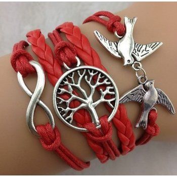 Armband Armcandy rood-zilver Infinity-Lovebirds-Tree of life 10