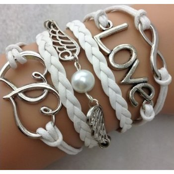Armband wit-zilver Infinity-Hearts-Wings-Love 71