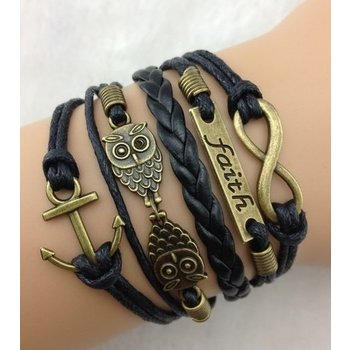 Armband Armcandy zwart-brons Infinity-Owls-Faith-Anchor 33