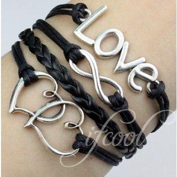 Armband Armcandy zwart-zilver Infinity-Hearts-Love 98