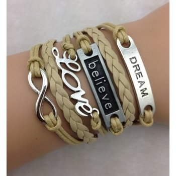 Armband beige-zilver Infinity-Love-Believe-Dream 02