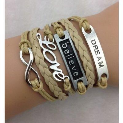 Armband beige-zilver Infinity-Love-Believe-Dream 02