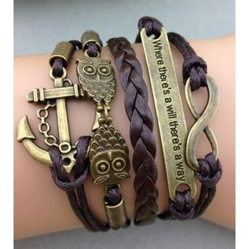Armband bruin-brons Infinity-Owls-Anchor-Where there is...39