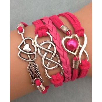 Armband fuchsia-zilver Infinity-Heart-Arrow-Double Infinity 49