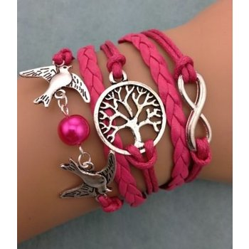 Armband fuchsia-zilver Infinity-Tree of Life-Lovebirds 45