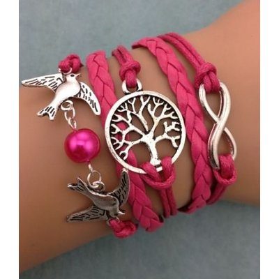 Armband fuchsia-zilver Infinity-Tree of Life-Lovebirds 45