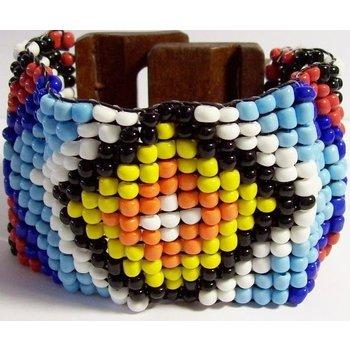 Armband geweven kraaltjes hout