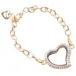 Armband hart Memory Lockets goud strass