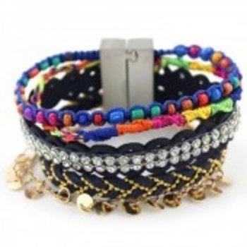 Armband Ibiza blauw-multi magneetsluiting 161