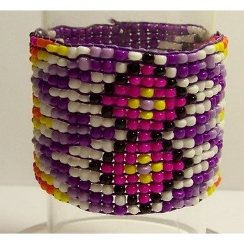 Armband Ibiza geweven kraaltjes paars-multicolor 03