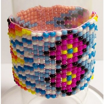 Armband Ibiza geweven kraaltjes zalm-multicolor 04
