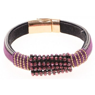 Armband Ibiza leer paars-roze magneetsluiting 03