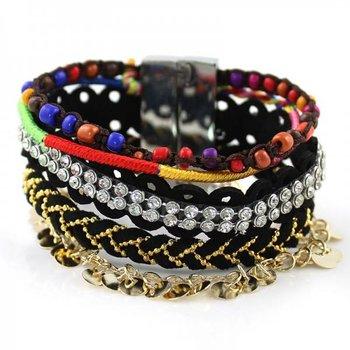 Armband Ibiza zwart-multicolor magneetsluiting 163