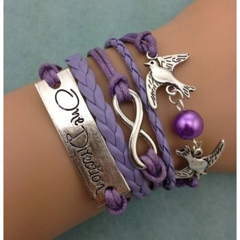 Armband lila-zilver Infinity-Lovebirds-One Direction 01