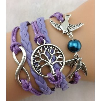 Armband lila-zilver Infinity-Tree of Life-Lovebirds 40