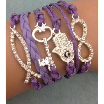 Armband lila-zilver-strass Infinity-Hand-Key-Fish 52