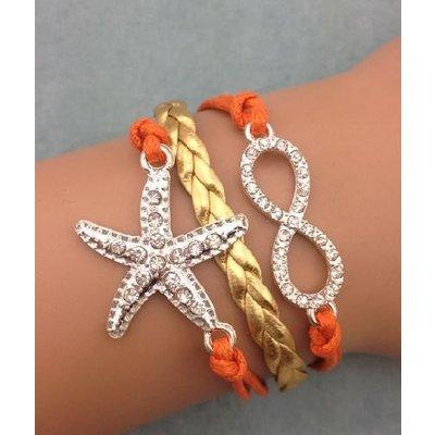 Armband oranje-goud-strass Infinity-Starfish 53
