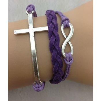 Armband paars-zilver Infinity-Cross 123