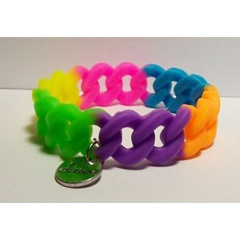 Armband rubber fluor multi-color
