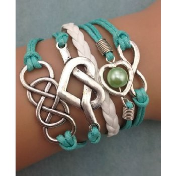 Armband turqoise-wit-zilver Infinity-Hearts-Double Infinity 57