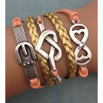 Armband zalm-zilver-goud Infinity-Heart-Belt 55