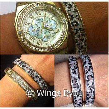 Armband zilver luipaardprint