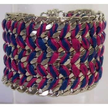 Armband zilver schakels met blauw-fuchsia koord en magneetsluiting