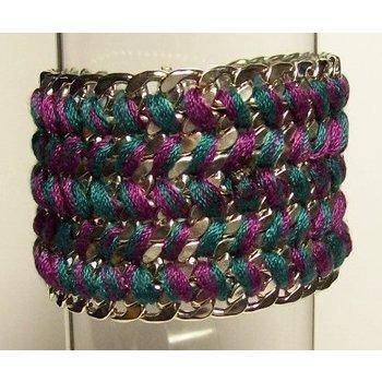 Armband zilver schakels met koord paars-groen magneetsluiting
