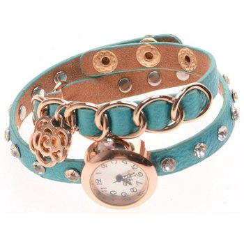 Horloge wikkel turqoise-goud