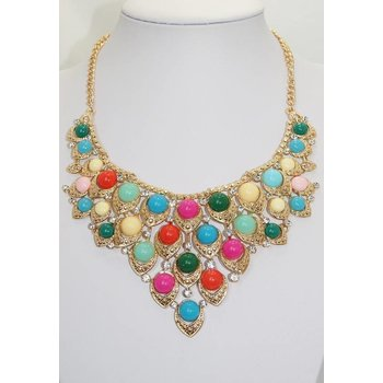 Ketting goud multicolor strass