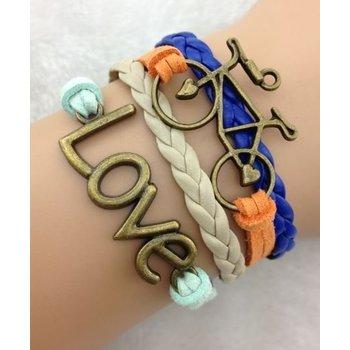 Armband brons-mintgroen-oranje-blauw Love-Bike