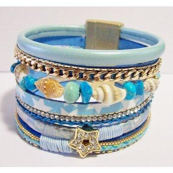 Armband Ibiza exclusief turqoise-goud magneetsluiting 97